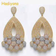 Hadiyana 2019 nova chegada multi cor grânulos borla brincos feminino mirco pavimentado zircão frisado jóias pingente bijoux brinco eh922