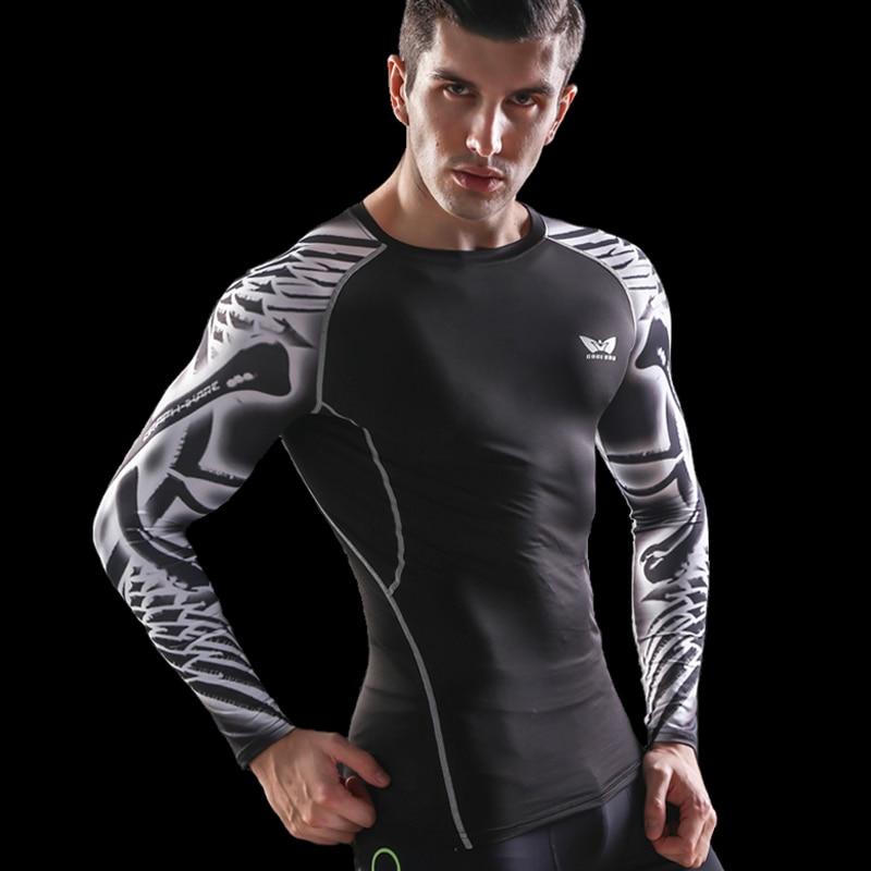 Мъжка мъжка компресия суха риза с дълги ръкави 3D отпечатъци Rashguard фитнес база тежест повдигане мъжки върхове