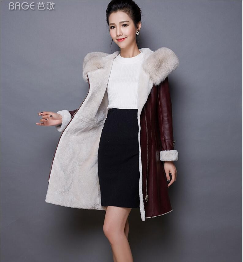 Mianyang fur coat new winter leather jacket plus velvet warm Korean hooded motorcycle ja ...