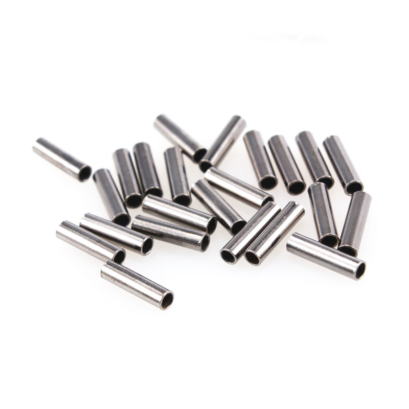 100pcs Black Round Copper Fishing Tube Fishing Wire Pipe Crimp Sleeves Connector Fishing Line Accessories Tool