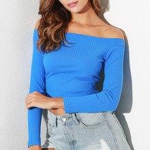 купить 2019 Sexy Women High Waist Elastic Knitted Sweater Short T-shirt Long Sleeve Strapless Off Shoulder Crop Tube Shirt  Tees Top по цене 560.32 рублей