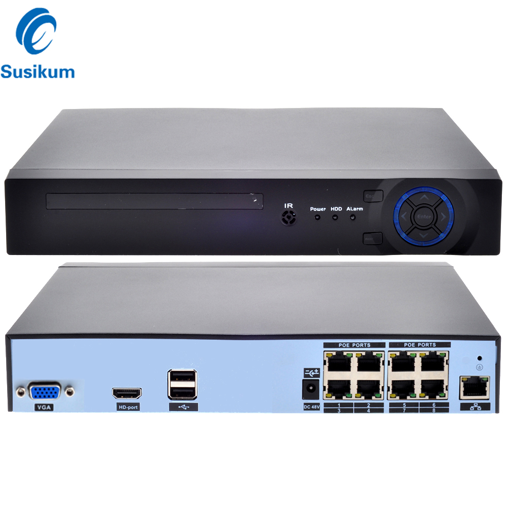 H.265 POE NVR 8CH 4MP Or 4CH 5MP XMEye APP P2P ONVIF 4K CCTV Network Video Recorder For Security Surveillance POE Camera