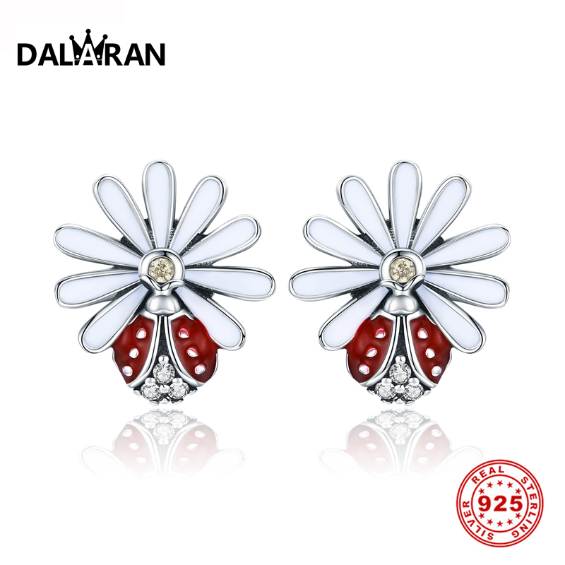 DALARAN Authentic 925 Sterling Silver Daisy Exquisite Stud Earrings Prevent Allergy For Women Fine Jewelry ValentineS Day GiftDALARAN Authentic 925 Sterling Silver Daisy Exquisite Stud Earrings Prevent Allergy For Women Fine Jewelry ValentineS Day Gift