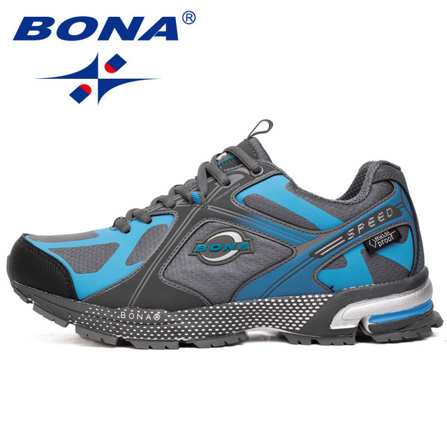 BONA New Waterproof Style Men Running Shoes Ourdoor Walking Sneakers Lace Up Athletic Shoes Comfortable Light Fast Free Shipping 5