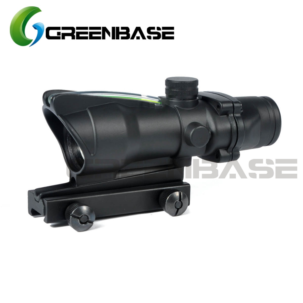 Greenbase New Tactical ACOG Style 1X32 Fiber Optical Green Dot Reflex Sight Aim Scope With QD