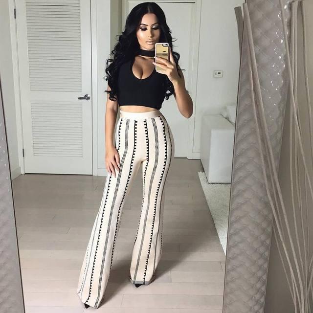 2017 Women Bodycon leggings bandage bottoms high waist harem long wide leg pants palazzo summer fashion club wonder sweatpants