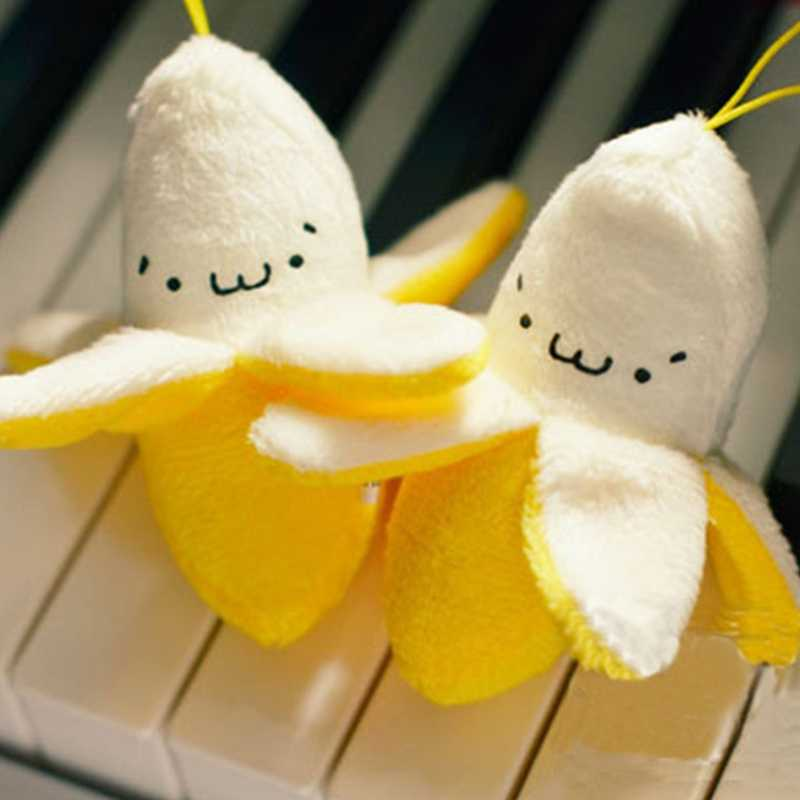 Moda Emoji Banana felpa juguete llavero teléfono colgante mujer bolso dijes Pom muñeca llavero boda regalo niñas fiesta baratija