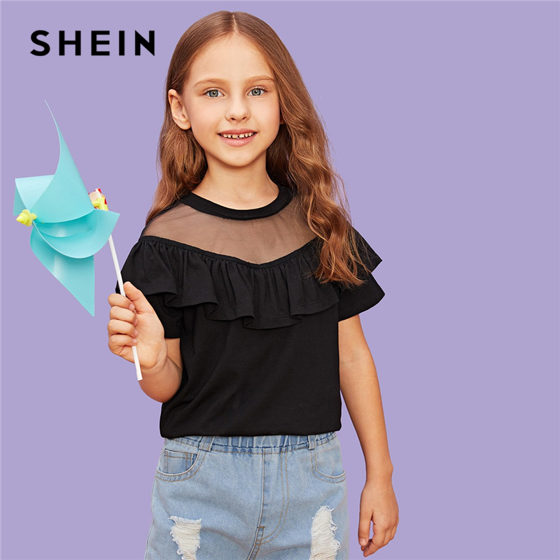 SHEIN Black Girls Ruffle Trim Contrast Mesh Casual T-Shirt Girls Tops 2019 Spring Fashion Short Sleeve T-Shirts For Girls Tee stylish scoop neck printed short sleeves cold shoulder t shirt for women