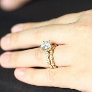 Image 5 - DovEggs 14K 585 Gelb Gold 3ct Zentrum 9mm F farbe 2,2mm Band Breite Moissanite Engagement Ring Set mit Akzente für Frauen