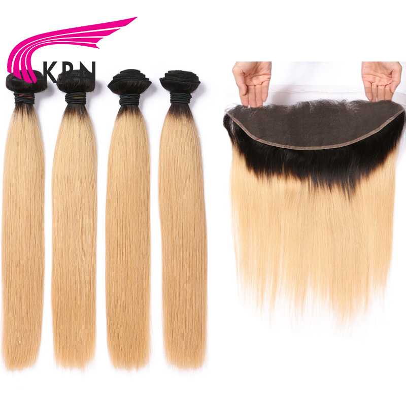 KRN 1B 27 Color Straight Hair Wefts 4 Bundles With 13*4 Ear To Ear Lace Frontal Closure Remy Hair Brazilian Human Hair Bundles ...