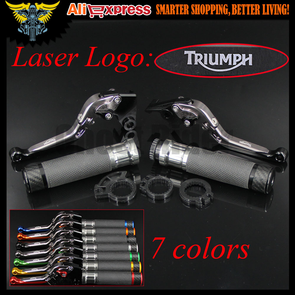 Motorcycle CNC Brake Clutch Levers and Handlebar Hand Grips For Triumph 675 STREET TRIPLE R/RX DAYTONA 955i SPEED FOUR TT 600 cnc anti slip 3d folding brake clutch levers for triumph daytona 675 r 2011 2014