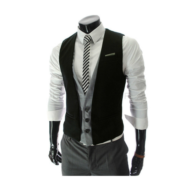 New Arrivals men Fashion leave two small vest Slim Fit casual fashion Suit vest Men's clothing brand high quality Suit vest