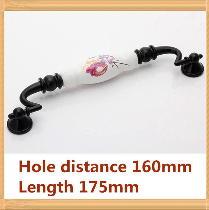 Length 178mm Hole C C 160mm Zinc alloy ceramic handle rotatable cabinet handle drawer handle black