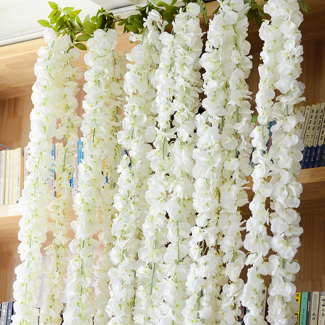 120cm home decoration silk garland flowertrigeminal long for Artificial flowers for home decoration india