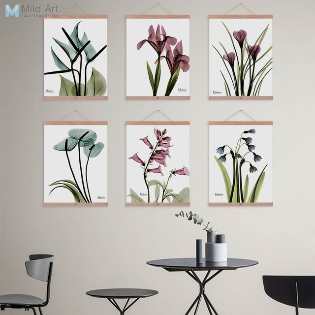 Beautiful Transparent Flower Floral Wooden Framed Posters Nordic ...