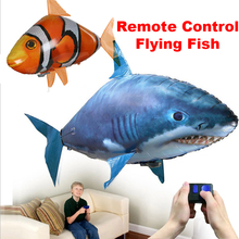 Remote Control Shark Toys party Swimming Fish RC Flying Air Balloons Fish Kids Toys Decoration remote control toys kids rc air swimmer fish