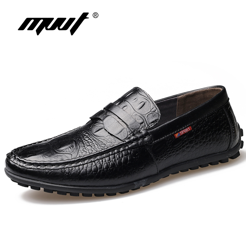 MVVT Crocodile Pattern Men's Loafers Genuine Leather Shoes Men Casual Shoes Men Flats Soft Leather Driving shoes top brand high quality genuine leather casual men shoes cow suede comfortable loafers soft breathable shoes men flats warm