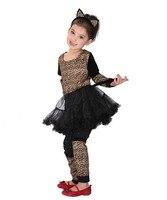 شحن مجاني طفل فتاة تأثيري الملابس المشاغب جميلة ليوبارد الفتيات عيد هالوين كرنفال حزب اللباس