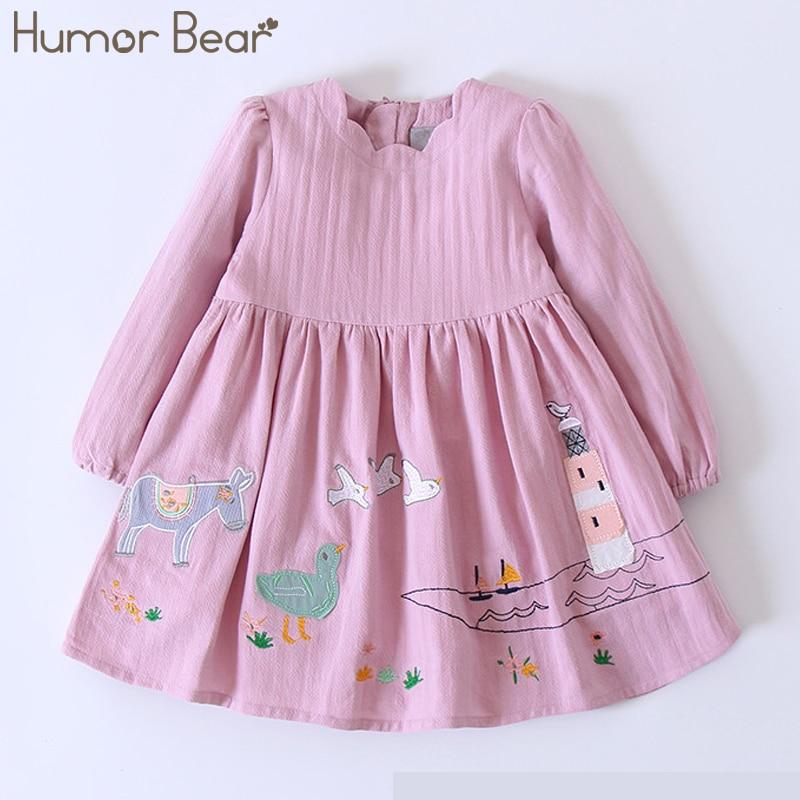 цены Humor Bear Children Clothes Girls Dress 2018 New Autumn England Style Girls Clothes Long Sleeve Lovely Leisure for Kids Dresses
