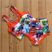 P J 2017 HOT SELLERS Sexy Women Crop Tops High Waist Shorts Floral Bikini Set Beach