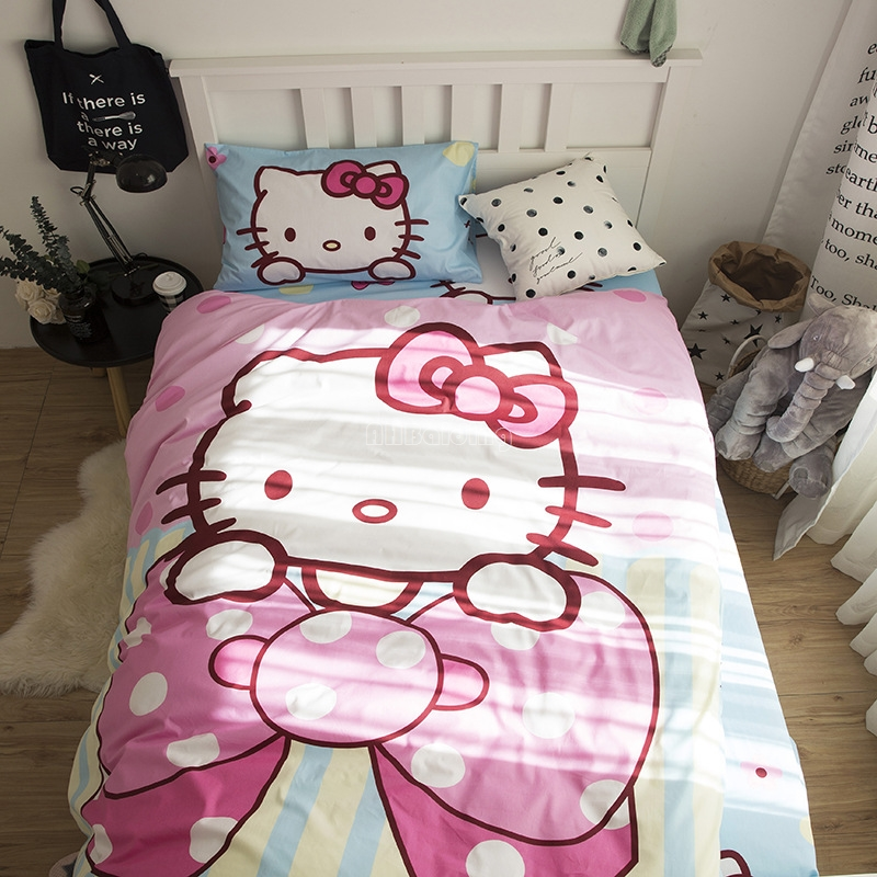 Home Textile 100% Cotton Hello Kitty Bedding Set High Quality Student School Single Bedclothes Duvet Cover Bed Sheet PillowcaseHome Textile 100% Cotton Hello Kitty Bedding Set High Quality Student School Single Bedclothes Duvet Cover Bed Sheet Pillowcase