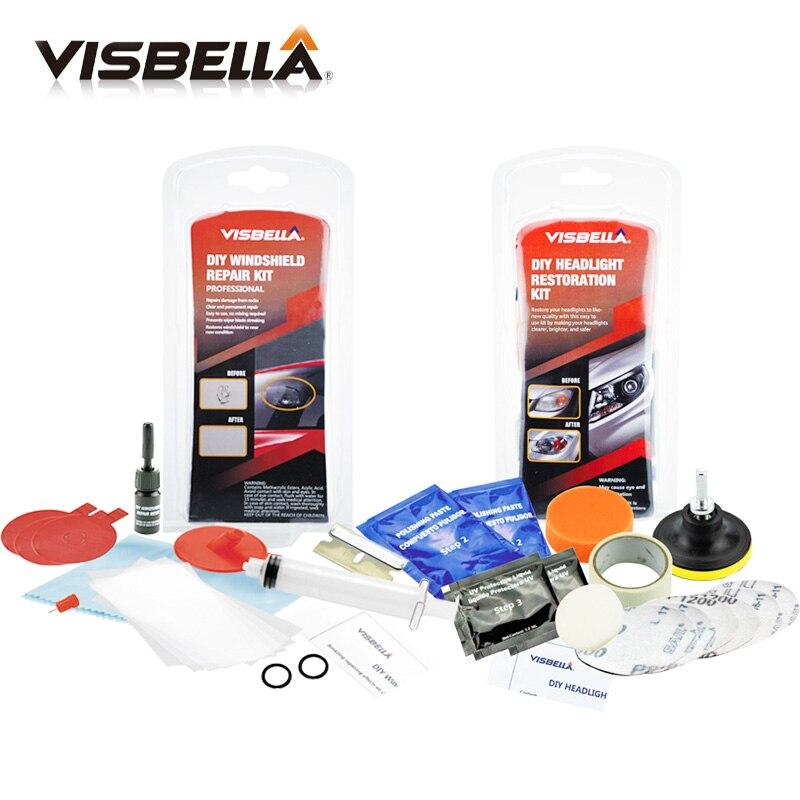 Visbella windshield repair kit and Headlights restoration kit for car lamp Clean Plastic Lens Restore Renew Polish Cleaner paste