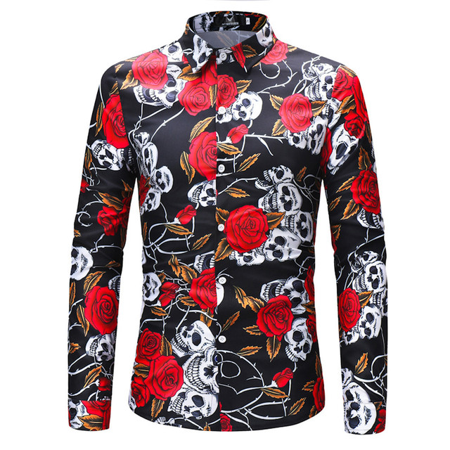 Men's Retro Flower Shirt slim fit Skull Rose Long Sleeved Shirt