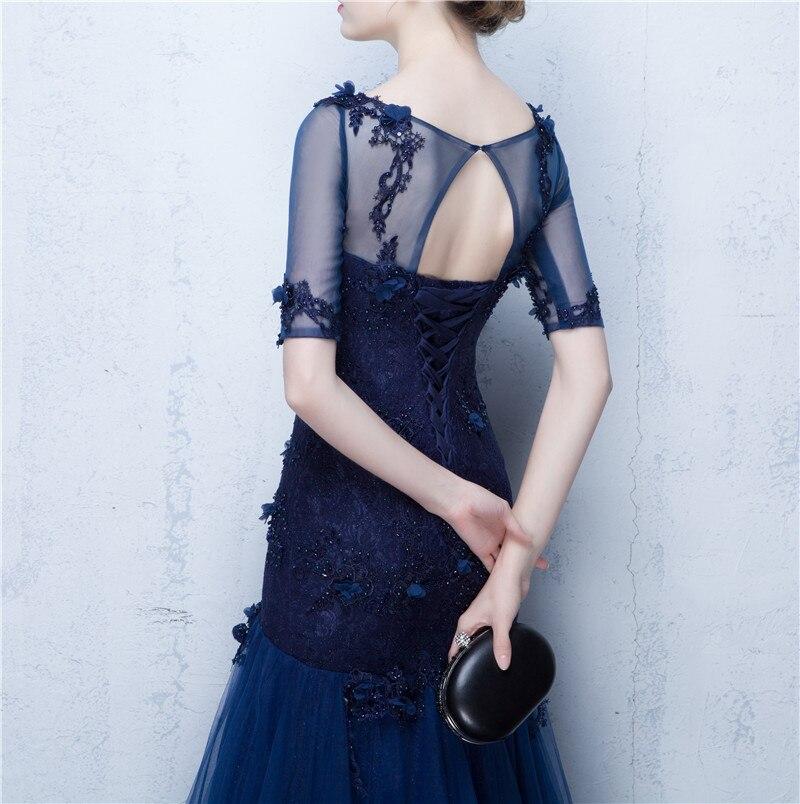 909640ec35e Высокое качество Темно синие французский Кружево Русалка вечернее платье с рукавами  до локтя зима Вечерние платья 2018 торжественное платье vestido festa ...