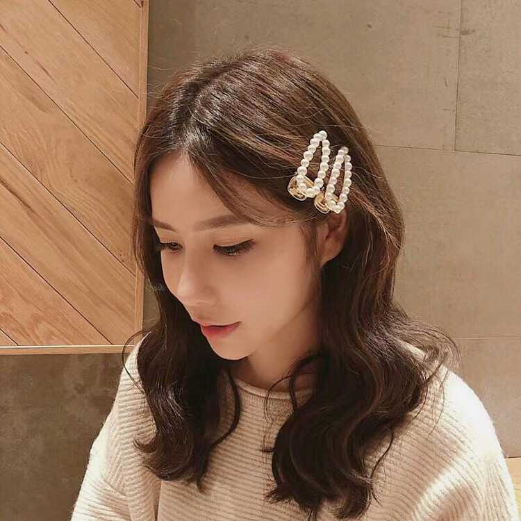 AOMU-Korea-Fashion-Hair-Clips-Imitiation-Pearl-Geometric-Rectangle-Waterdrop-Hairpins-Metal-Gold-Color-Hair-Accessories