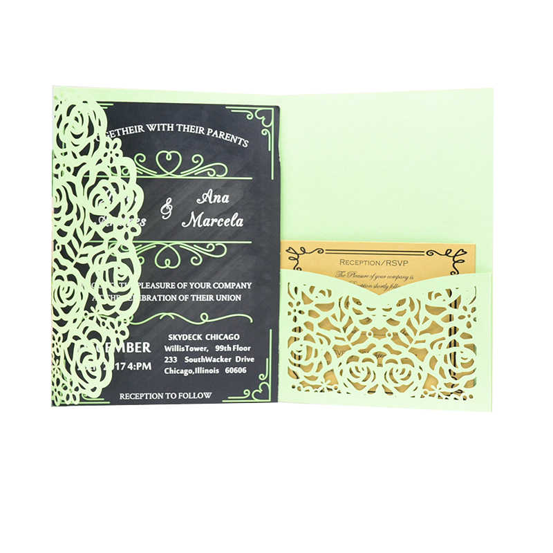 Wedding Card Design Suppliers Laser Cut Mint Green Pearl Paper Tri