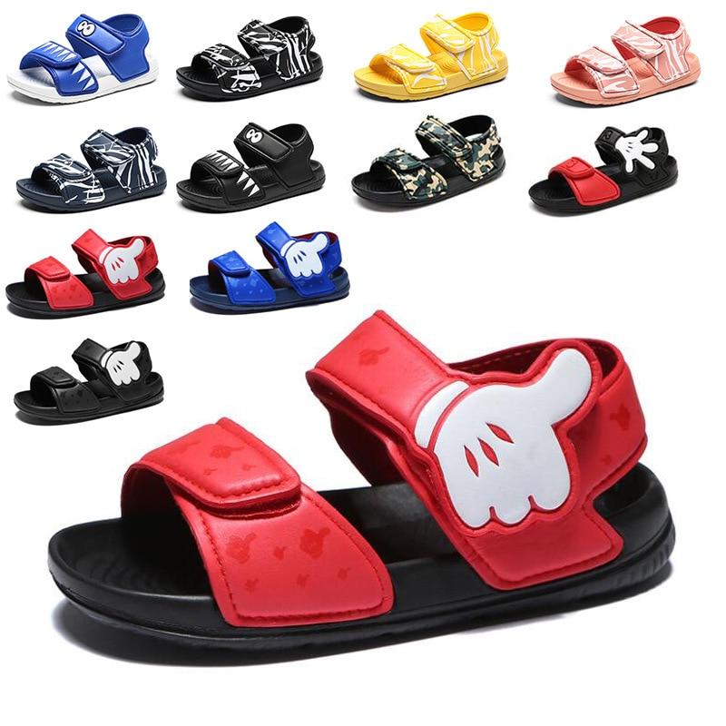 Summer Baby Boys New Non-slip Beach Shoes Girls Open Children's Sandals Mickey Wild Boys Shoes Student Soft Toddler Kids Sandals