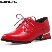 KarinLuna Plus Size 32 43 Fashion Square Heels Black Red Shoes Woman Pumps Female Lace Up Office Lady Pumps Woman Shoes