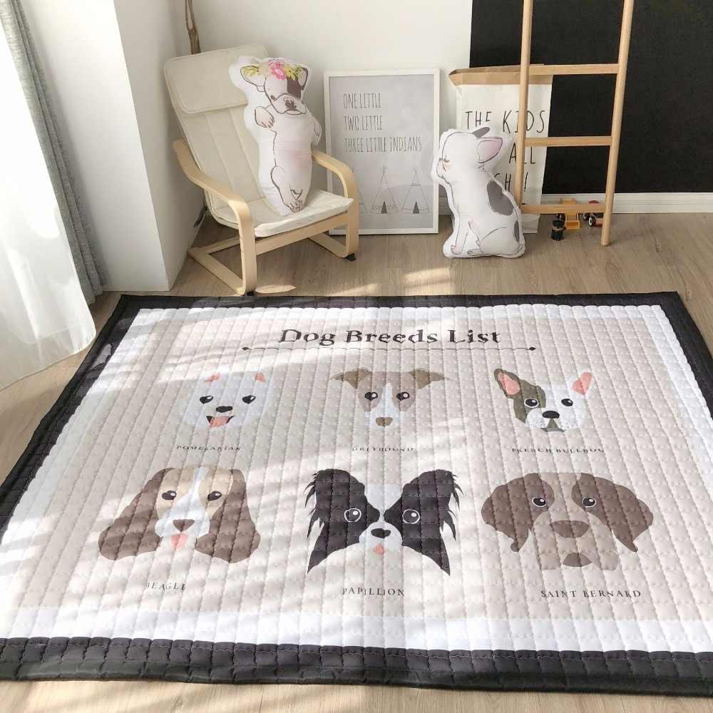 Европейский стиль, домашний ковер, 100% хлопок, Мультяшные Коврики для пола, нескользящий ковер для гостиной, 150*200 см, мягкий детский игровой коврик, собака, мальчик, тигр
