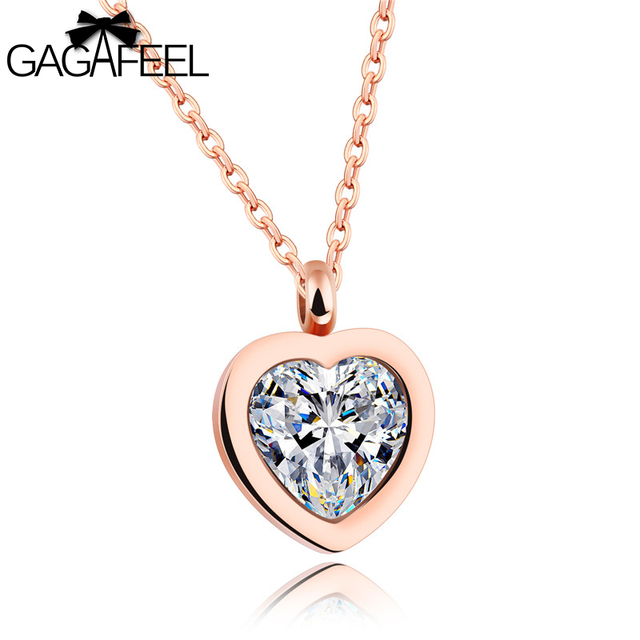 GAGAFEEL Crystal Heart Pendant Necklace For Women Rose Gold Love Necklaces  Pendants Stainless Steel Choker Fashion Jewelry Gift