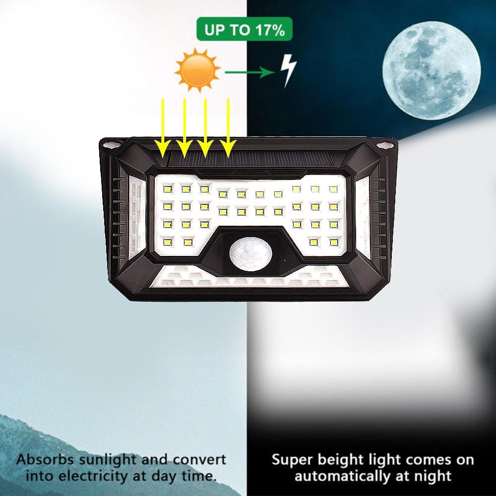 136/118/90/66/44 LED Solar Lamps for Garden Waterproof Outdoor Lighting LED Solar Light Motion Sensor 3 Mode Security Wall Light