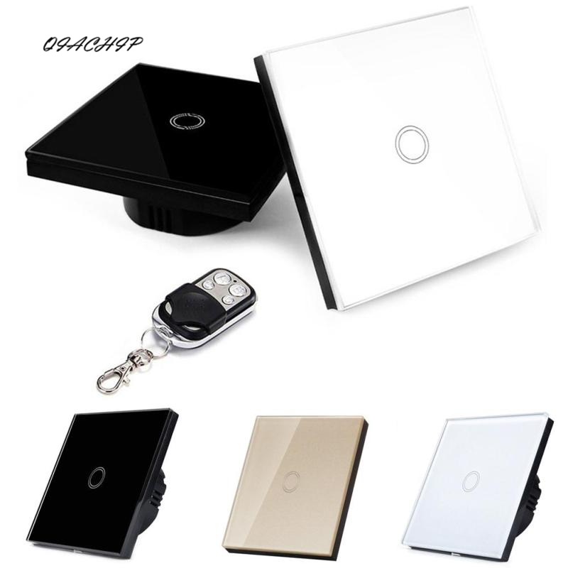 QIACHIP 240V 1 Gang Home Touch Wall Light Switch Wireless Remote Control Crystal Glass Plate Remote Wall Touch Switch smart home us black 1 gang touch switch screen wireless remote control wall light touch switch control with crystal glass panel