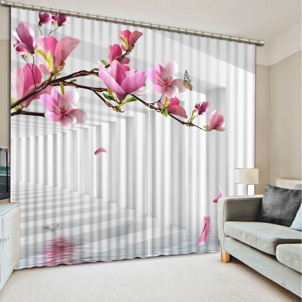 Home Decor Living Room Natural Art  pink magnolia flower  fashion decor home decoration for bedroom living room curtainHome Decor Living Room Natural Art  pink magnolia flower  fashion decor home decoration for bedroom living room curtain