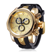 Ceinture de Silicone de mode Sport Montre-Bracelet Hommes Or Argent Horloge Quartz Montre Grand Cadran Faux 3 Yeux Hodinky Relogio Masculino