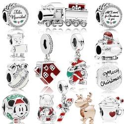 MYBEBOA 2018 Christmas Winter 925 Sterling Silver Santa Reindeer Bag Charm fit Original Women Bracelet Beads DIY Jewelry Gift