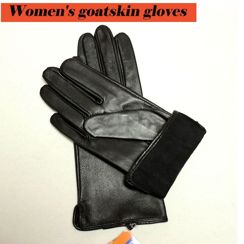 Goatskin Gloves Women's Thin Section Sheepskin Touch Screen Unlined Single-layer Riding Driving Leather Gloves Free Shipping