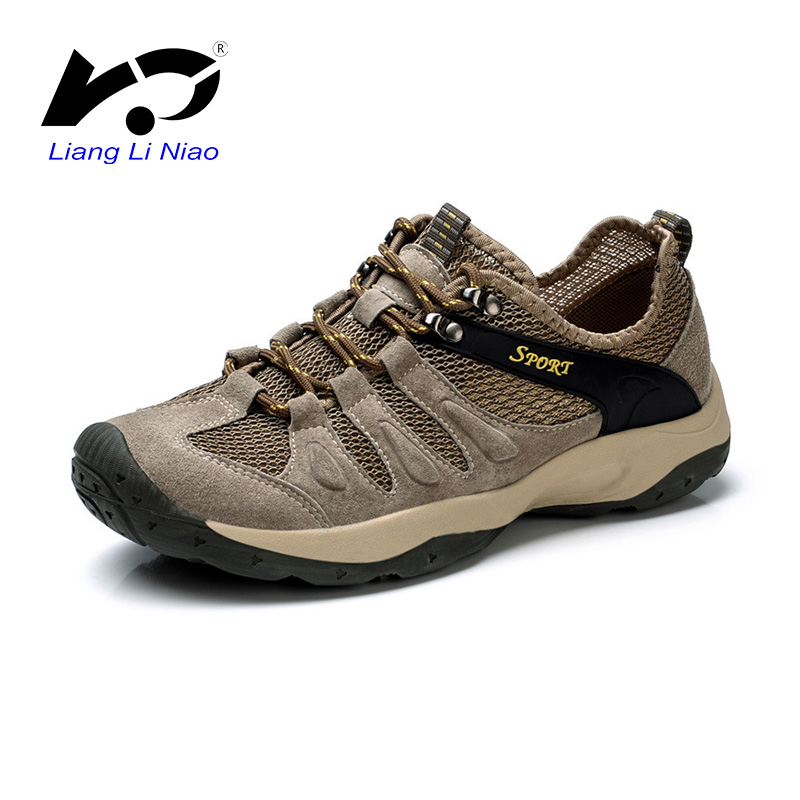 2017 New Men Mountain Hiking Shoes Outdoor Camping Shoes Genuine Leather Men Trekking Sport Shoes Non-slip Breathable Sneakers clorts men trekking shoes 2016 waterproof breathable outdoor shoes non slip hiking boots sport sneakers 3d028