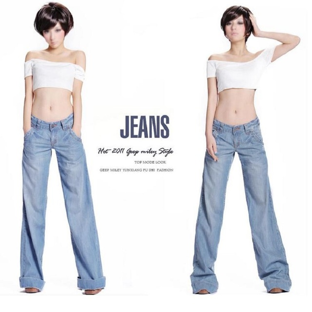 87014953b77d08 Elegant Women's Wide Leg Denim Pants Trousers Fashion Low Waist Flared Jeans  Plus Size Loose Big Boot Cut Bell Bottom Jeans