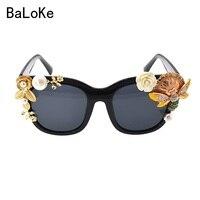 2017 Haute Qualité Plein Cadre Baroque lunettes de Soleil Femmes En Plein Air Wrap Lunettes Perle Fleur Lunettes de Soleil D'été Plage des Lunettes De Soleil