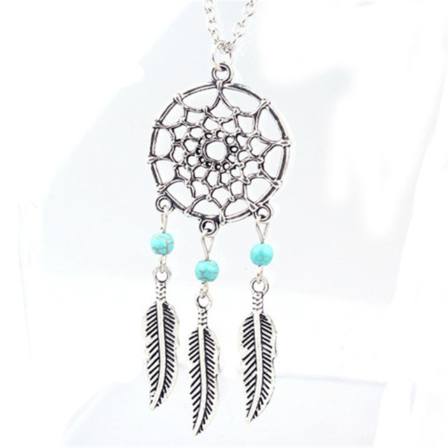 Hot Women Jewellery Retro Turquoise Feather Tassel Dream Catcher Pendant Necklace Family Friend Gift Silver GZGFV