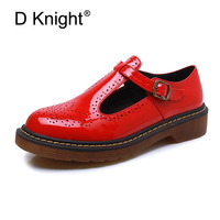 Fashion Patent T Strap Women Flats Ladies Casual Round Toe Ankle Strap Flat Carved Brogue Oxford