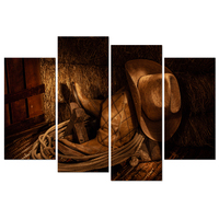 4 Pieces Retro Canvas Prints American West Rodeo Cowboy Wall Art Cowboy Hat and Horse Saddle Picture Prints on Canvas