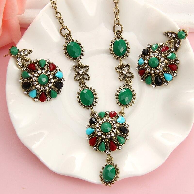 Набор винтажных ювелирных изделий с кристаллами в турецком стиле  многоцветное золотое ожерелье  серьги для женщин  модные аксессуары в под... title=
