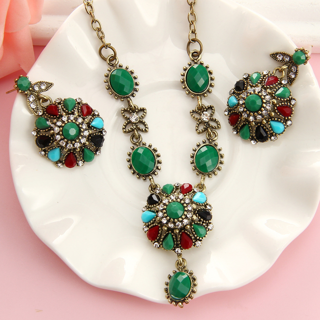 Vintage Crystal Turkish Jewelry Sets Multi Colour Gold Chunky Necklace Earrings For Women Fashion Accessories Gift
