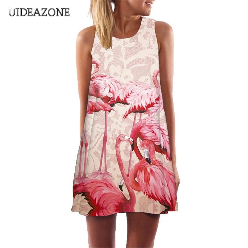 Fashion Sleeveless Dress Flamingo Print Mini Tunic 2018 Sexy Vestidos De Fiesta Party Dresses Women Summer Beach Dress