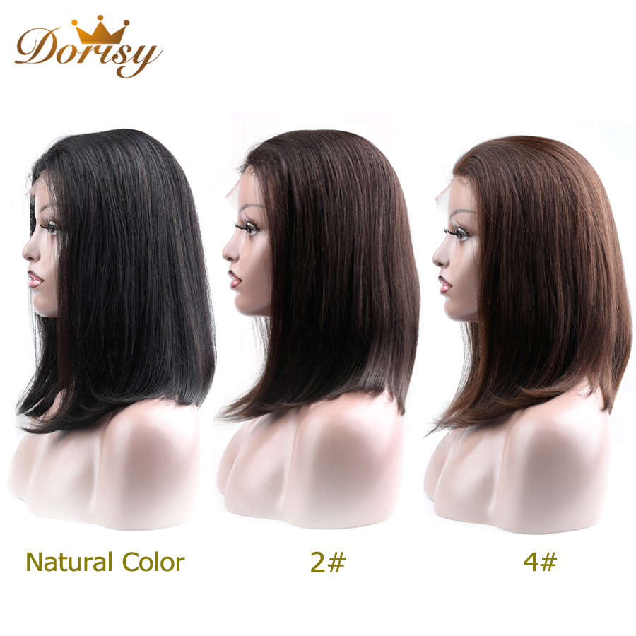 Human Hair Wigs 13×2 Lace Short Bob Wig Brazilian Straight Hair Natural Color 2# 4# Lace Wig For Black Women Non Remy Hair-in Lace Front Wigs from Hair Extensions & Wigs